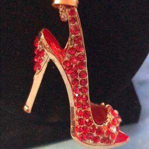 Betsey Johnson red shoe rhinestone necklace